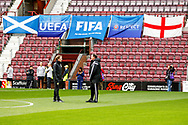 Scot Gemmil & Malky Mackay discuss the game ahead of the U21 UEFA EUROPEAN CHAMPIONSHIPS match Scotland vs England at Tynecastle Stadium, Edinburgh, Scotland, Tuesday 16 October 2018.
