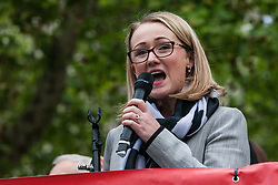 London, UK. 1st May, 2019. Rebecca Long-Bailey, Shadow Secretary of State for Business Energy & Industrial Strategy, addresses climate protesters at a Declare A Climate Emergency Now demonstration in Parliament Square organised to coincide with a motion in the House of Commons to declare an environment and climate emergency tabled by Leader of the Opposition Jeremy Corbyn. The motion, which does not legally compel the Government to act, was passed without a vote.