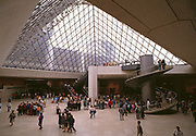 The sunken glass pyramid entrance to the Louvre museum