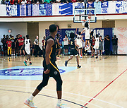 NORTH AUGUSTA, SC. July 10, 2019. Jaylin Willilams  2020 #23 of Woodz Elite 17U blocks a shot at Nike Peach Jam in North Augusta, SC. <br /> NOTE TO USER: Mandatory Copyright Notice: Photo by Royce Paris / Jon Lopez Creative / Nike