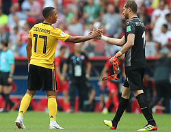 MOSCOW, June 23, 2018  Youri Tielemans (L) of Belgium and Farouk Ben Mustapha of Tunisia greet each other after the 2018 FIFA World Cup Group G match between Belgium and Tunisia in Moscow, Russia, June 23, 2018. Belgium won 5-2. (Credit Image: © Yang Lei/Xinhua via ZUMA Wire)