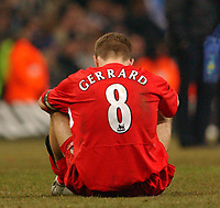 Photo. Daniel Hambury, Digitalsport<br /> Chelsea v Liverpool.<br /> <br /> Carling Cup Final.<br /> 27/02/2005<br /> Liverpool's Steven Gerrard gets dissapointed after the match.