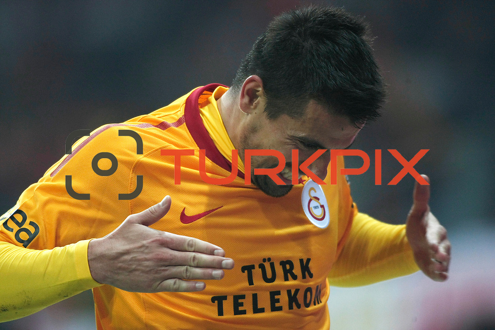 Galatasaray's Milan Baros celebrate his goal during their Turkish Super League soccer match Galatasaray between IBBSpor at the TT Arena at Seyrantepe in Istanbul Turkey on Tuesday, 03 January 2012. Photo by TURKPIX