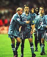 Paul Gascoigne (Eng) consoles Gareth Southgate after missing his penalty kick in the penalty shoot out , that lost them the match. England v Germany Euro Championships. Semi Final @ Wembley. 26/09/1996 Credit : Colorsport