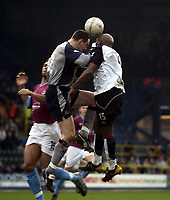 Picture: Henry Browne.<br /> Date: 14/02/2004.<br /> Fulham v West Ham FA Cup Fifth Round.<br /> <br /> Stephen Bywater of West Ham manages to punch Barry Hayles of Fulham in the face as he tries to clear.
