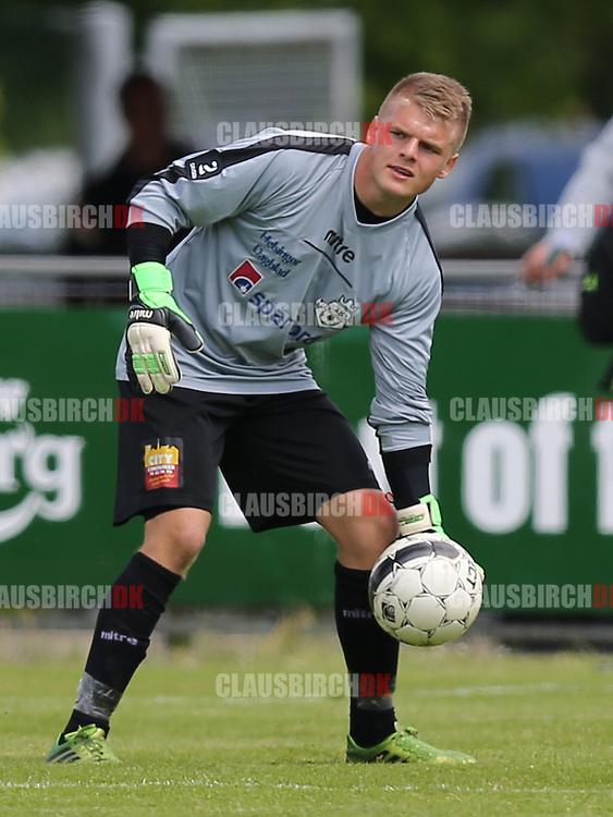 FODBOLD: Reservemålmand Andreas Jensen (FC Helsingør, #1) under kampen i 2. Division Øst mellem Avarta og FC Helsingør den 29. maj 2014 i Espelunden. Foto: Claus Birch
