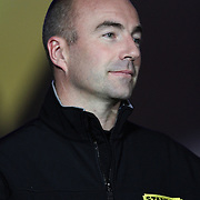 NASCAR Sprint Cup driver Marcos Ambrose is seen during the driver introductions prior to the NASCAR Sprint Unlimited Race at Daytona International Speedway on Saturday, February 16, 2013 in Daytona Beach, Florida.  (AP Photo/Alex Menendez)