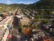 SHOT 7/1/17 7:06:41 PM - Drone photos of Park City, Utah. Park City lies east of Salt Lake City in the western state of Utah. Framed by the craggy Wasatch Range, it's bordered by the Deer Valley Resort and the huge Park City Mountain Resort, both known for their ski slopes. Utah Olympic Park, to the north, hosted the 2002 Winter Olympics and is now predominantly a training facility. In town, Main Street is lined with buildings built during a 19th-century silver mining boom. (Photo by Marc Piscotty / © 2017)
