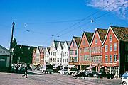 Bryggen Hanseatic period wooden wharf buildings, Bergen, Norway, 1970