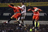Photo: Paul Thomas.<br /> Tottenham Hotspur v Sevilla. UEFA Cup. Quarter Final, 2nd Leg. 12/04/2007.<br /> <br /> Dimitar Berbatov (C) of Tottenham goes close to scoring with this header.