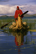 Aymara Indian & Totora Reed Boat<br />