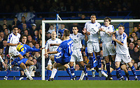 12/5/2004 - Chelsea v  Everton , Stamford Bridge - FA Barclays Premiership.<br />Chelsea's Arjen Robben curls the ball around the wall from a free kick, only to hit the post<br />Photo:Jed Leicester/Back Page Images