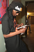 September 22, 2012- Los Angeles, CA:  Recording Artist Del the Funky Homosapien backstage at the Lyricist Lounge 20th Year Reunion Party-Los Angeles held at Club Nokia at LA Live on September 22, 2012 in Los Angeles, California. The Lyricist Lounge is a hip hop showcase of rappers, emcees, DJ's, and Graffiti artists. It was founded in 1991 by hip hop aficionados Danny Castro and Anthony Marshall. It was a series of open mic events hosted in a small studio apartment in the Lower East Side section of New York City. (Terrence Jennings)