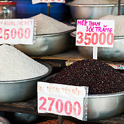 Rice for sale at street market in Saigon