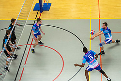 21-04-2018 NED: Coniche Topvolleybal Zwolle - TT Papendal, Zwolle<br /> Round 17 of Eredivisie - Talenteam win 3-0 / Bert Bril #11 of Zwolle, Jelle Hilarius #5 of Zwolle, Ray Espoza #13 of Zwolle