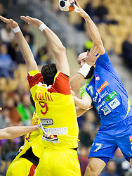 Ace Jonovski of F.Y.R. Macedonia and Vid Kavticnik of Slovenia during friendly handball match between National Teams of Slovenia and F.Y.R. of Macedonia before EHF EURO 2016 in Poland on January 5, 2016 in Arena Zlatorog, Celje, Slovenia. Photo by Urban Urbanc / Sportida