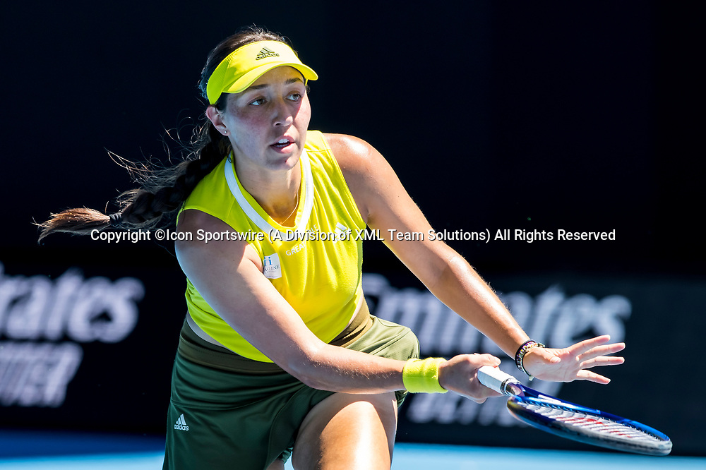 MELBOURNE, VIC - FEBRUARY 17: Jessica Pegula of the United States of America returns the ball during the quarterfinals of the 2021 Australian Open on February 17 2021, at Melbourne Park in Melbourne, Australia. (Photo by Jason Heidrich/Icon Sportswire)