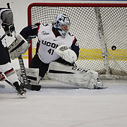 UConn goal tender goal Annie Belanger watches the puck fly past her for a Boston University goal during the UConn Vs Boston University, Women's Ice Hockey game at Mark Edward Freitas Ice Forum, Storrs, Connecticut, USA. 5th December 2015. Photo Tim Clayton