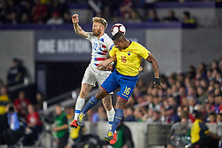 March 21, 2019 - Orlando, FL, U.S. - ORLANDO, FL - MARCH 21: United States defender Tim Ream (13) battles with Ecuador midfielder Antonio Valencia (16) in game action during an International friendly match between the United States and Ecuador on March 21, 2019 at Orlando City Stadium in Orlando, FL. (Photo by Robin Alam/Icon Sportswire) (Credit Image: © Robin Alam/Icon SMI via ZUMA Press)