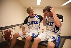 31 May 2010: Duke Blue Devils attackman Will McKee (50) and midfielder Michael Hutchings (33) before playing the Notre Dame Irish in the NCAA Lacrosse Championship at M&T Bank Stadium in Baltimore, MD.  The Blue Devils would go on that day to win the national title.