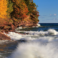 """""""Wild and Free""""<br /> <br /> Amazing Lake Superior in autumn with its powerful waves and a glorious rocky coastline with fall color!"""