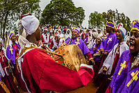 Dorze people celebrating Meskel, an annual religious holiday in the Ethiopian Orthodox and Eritrean Orthodox churches, which commemorates the discovery of the True Cross by the Roman Empress Helena (Saint Helena) in the fourth century. Dorze Haizo, Ethiopia.