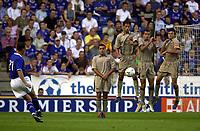 Photo: Richard Lane.<br />Leicester City v Barcelona. Pre-season friendly. 08/08/2003.<br />Riccardo floats a free kick over the Barcelona goal.