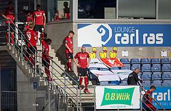 """FC Københavns spillere på vej ud fra """"omklædningsrummet"""" i pausen af kampen i 3F Superligaen mellem Lyngby Boldklub og FC København den 1. juni 2020 på Lyngby Stadion (Foto: Claus Birch)."""