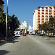 Vakantie Miami Amerika, palmbomen, straat