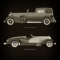 For the lover of old classic cars, this combination of a Cadillac V16 Town Car 1933 and Duesenberg SJ Speedster 1933 is truly a beautiful work to have in your home.<br />