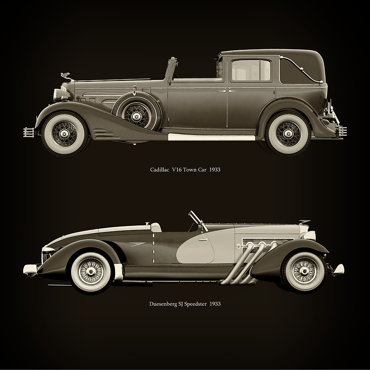 For the lover of old classic cars, this combination of a Cadillac V16 Town Car 1933 and Duesenberg SJ Speedster 1933 is truly a beautiful work to have in your home.<br /> The classic <br /> Cadillac V16 Town Car and the beautiful Duesenberg SJ Speedster are among the most beautiful cars ever built.<br /> You can have this work printed in various materials and without loss of quality in all formats.<br /> For the oldtimer enthusiast, the series by the artist Jan Keteleer is a dream come true. The artist has made a fine selection of the very finest cars which he has meticulously painted down to the smallest detail. –<br /> -<br /> <br /> BUY THIS PRINT AT<br /> <br /> FINE ART AMERICA<br /> ENGLISH<br /> https://www.werkaandemuur.nl/nl/shopwerk/Cadillac-V16-Town-Car-1933-en-Duesenberg-SJ-Speedster-1933/754092/132?mediumId=1&size=60x60<br /> <br /> WADM / OH MY PRINTS<br /> DUTCH / FRENCH / GERMAN<br /> https://janke.pixels.com/featured/cadillac-v16-town-car-1933-and-duesenberg-sj-speedster-1933-jan-keteleer.html<br /> <br /> –