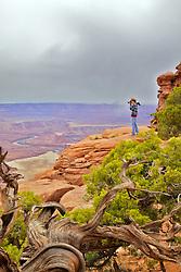 Photographer, Green River Overlook, Canyonlands National Park, Moab, Utah