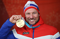PYEONGCHANG,SOUTH KOREA,15.FEB.18 - OLYMPICS, ALPINE SKIING - Olympic Winter Games PyeongChang 2018, medal plaza, downhill, men, award ceremony. Image shows Aksel Lund Svindal (NOR).<br /> <br /> Norway only