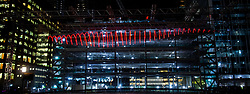 Winter Lights Festival 2019<br /> An exhibition which brings innovative light sculptures, installations and immersive experiences by international artists to Canary Wharf photo call <br /> 14th January 2019 <br /> Canary Wharf, London, Great Britain <br /> <br /> Whale Ghost: An 18m, monumental silhouette of this illuminated whale encourages visitors to think about the effect of humans on our biodiversity<br /> <br /> <br /> <br /> Photograph by Elliott Franks