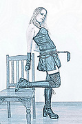 Digitally enhanced, full body image, of a model wearing fetish style clothes and holding a whip