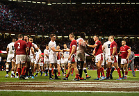 Rugby Union - 2019 pre-Rugby World Cup warm-up (Under Armour Summer Series) - Wales vs. England<br /> <br /> Players shake hands after Wales' 13-6 victory, at Principality (Millennium) Stadium.<br /> <br /> COLORSPORT/ASHLEY WESTERN