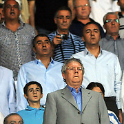 Fenerbahce's president Aziz Yildirim during the national march before the Turkish superleague soccer match S.B. Elazigspor between Fenerbahce at the Ataturk stadium in izmir Turkey on Saturday 18 August 2012. Photo by TURKPIX