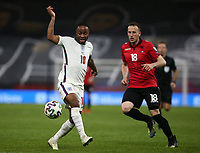 TIRANA, ALBANIA - MARCH 28:Raheem Sterling of England during the FIFA World Cup 2022 Qatar qualifying match between Albania and England at the Qemal Stafa Stadium on March 28, 2021 in Tirana, Albania. Sporting stadiums around Europe remain under strict restrictions due to the Coronavirus Pandemic as Government social distancing laws prohibit fans inside venues resulting in games being played behind closed doors (Photo by MB Media)