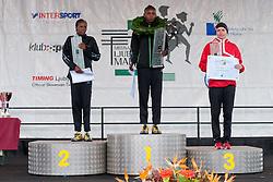 Winners of Marathon: Lydia Kurgat of Kenya (first place), Jane Rotich of Kenya (second place) and Ilga Kotovska of Ukraine (third place) during 16th International Ljubljana Marathon 2011 on October 23, 2011, in Ljubljana, Slovenia.  (Photo by Matic Klansek / Sportida)
