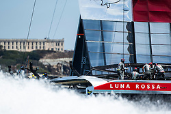 Artemis Racing (SWE) vs. Luna Rossa (ITA), Semi-final race four of the Louis Vuitton Cup. Luna Rossa wins the semi-final overall and advances to the finals. 10th of August, 2013, Alameda, USA