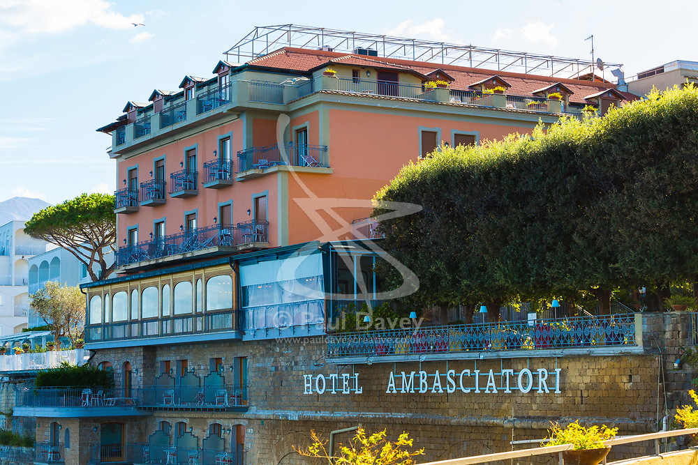 Sorrento, Italy, September 18 2017. The Grand Hotel Ambasciatori perched on a clifftop above the bay of Naples in Sorrento, Italy. © Paul Davey