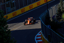June 24, 2017 - Baku, Azerbaijan - Fernando Alonso of Spain driving the (14) McLaren Honda F1 Team on track during final practice for the Azerbaijan Formula One Grand Prix at Baku City Circuit. (Credit Image: © Aziz Karimov/Pacific Press via ZUMA Wire)