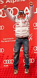 18.02.2011, Medal Placa, Garmisch Partenkirchen, GER, FIS Alpin Ski WM 2011, GAP, Herren, Riesenslalom, Medaillen Zeremonie , im Bild silber Medaille Cyprien Richard (FRA) // silver medal Cyprien Richard (FRA) during men's Giant Slalom Medalceremony Fis Alpine Ski World Championships in Garmisch Partenkirchen, Germany on 18/2/2011. EXPA Pictures © 2011, PhotoCredit: EXPA/ J. Groder