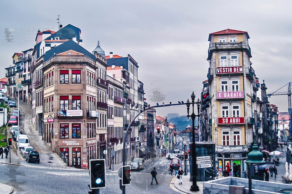 Oporto, December 2012. View of buildings and streets on downtown. UNESCO World Heritage Site.