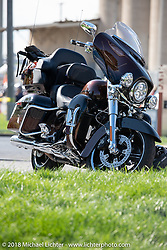 The brand new 2019 Ultra that we were loaned for the week (thank you Jen Hoyer and Alan Barsi of HD) by the Harley-Davidson Museum, where the multi-acre campus acted as the central rally point during the Harley-Davidson 115th Anniversary Celebration event. Milwaukee, WI. USA. Thursday August 30, 2018. Photography ©2018 Michael Lichter.