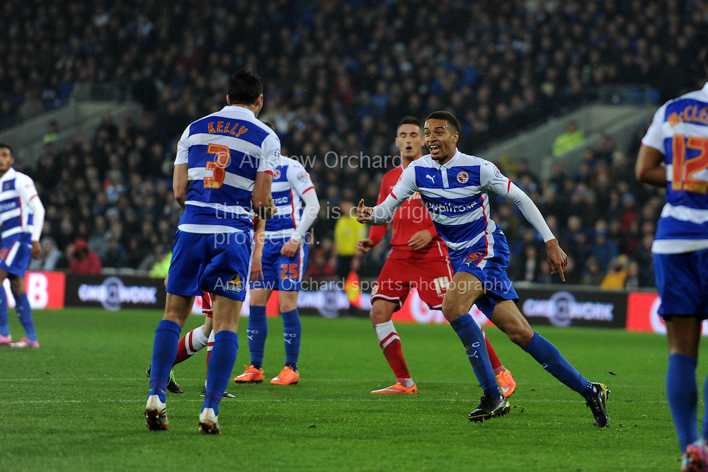 Reading's Michael Hector © celebrates after he scores his teams 1st goal. Skybet football league championship match, Cardiff city v Reading at the Cardiff city stadium in Cardiff, South Wales on Friday 21st November 2014<br /> pic by Andrew Orchard, Andrew Orchard sports photography.