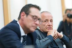 """24.04.2017, Diplomatische Akademie, Wien, AUT, Bürger Salon Podiumsdiskussion mit dem Titel """"Sicherheit in Österreich. Welche Maßnahmen sind politisch umsetzbar?"""", im Bild v.l.n.r. Klubobmann FPÖ Heinz-Christian Strache und Abgeordneter und Sicherheitssprecher der Grünen Peter Pilz // f.l.t.r. Leader of the parliamentary group FPOe Heinz Christian Strache and Member of Parliament and Security Speakesman of the greens Peter Pilz during an open forum according to """"safety in austria"""" in Vienna, Austria on 2017/04/24, EXPA Pictures © 2017, PhotoCredit: EXPA/ Michael Gruber"""