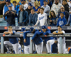 November 1, 2017 - California, United States - Dejected Dodgers hang their heads on the dugout rail at the end of the game. The Houston Astros defeated the Los Angeles Dodgers 5-1 to win game 7 of the World Series at Dodger Stadium in Los Angeles, CA 11/1/2017  (Credit Image: © John Mccopy/Los Angeles Daily News via ZUMA Wire)