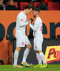 15.12.2018, 1.BL, FCA vs Schalke 04, WWK Arena Augsburg, Fussball, Sport, im Bild:..Michael Gregoritsch(FC Augsburg) und Marco Richter (FC Augsburg) jubeln zum 1:0..DFL REGULATIONS PROHIBIT ANY USE OF PHOTOGRAPHS AS IMAGE SEQUENCES AND / OR QUASI VIDEO...Copyright: Philippe Ruiz..Tel: 089 745 82 22.Handy: 0177 29 39 408.e-Mail: philippe_ruiz@gmx.de. (Credit Image: © Philippe Ruiz/Xinhua via ZUMA Wire)