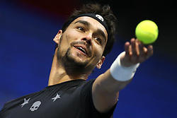September 23, 2017 - Saint Petersburg, Russia - Fabio Fognini of Italy returns the ball to Roberto Bautista of Spain during the St. Petersburg Open ATP tennis tournament semi-final match in St.Petersburg  (Credit Image: © Igor Russak/NurPhoto via ZUMA Press)